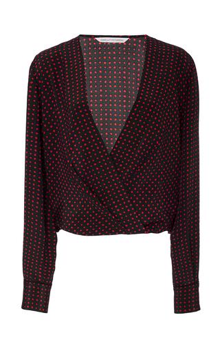 Medium diane von furstenberg print drape front blouse