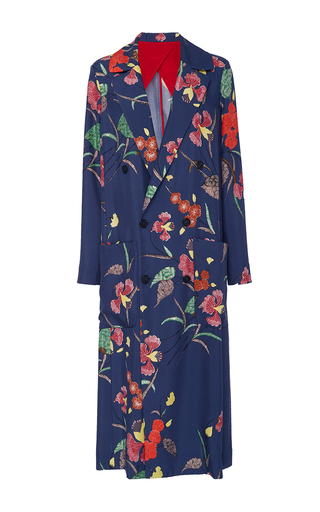 Medium diane von furstenberg floral floral print floor length jacket
