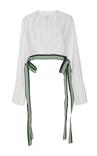 Medium diane von furstenberg white cropped ribbon trim blouse