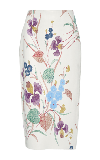 Medium diane von furstenberg floral floral printed leather pencil skirt