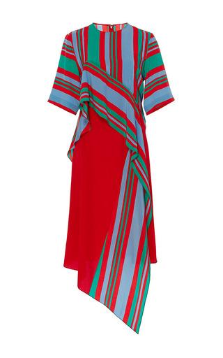 Medium diane von furstenberg stripe short sleeve ruffle front dress