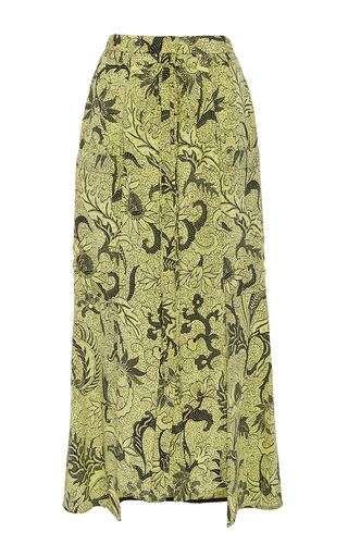 Medium diane von furstenberg print waist tie button front skirt