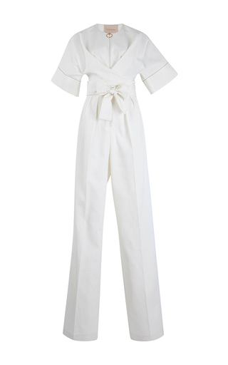 Medium roksanda ilincic ivory tullus short sleeve jumpsuit