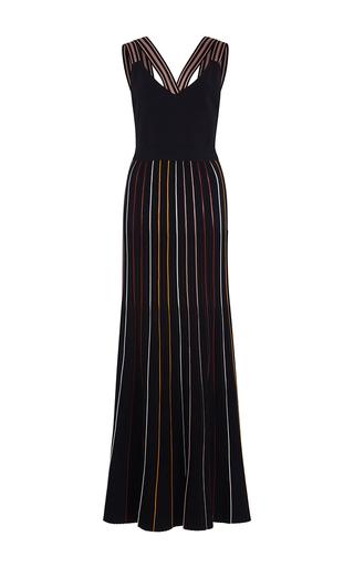 Medium roksanda ilincic black shori striped knit dress