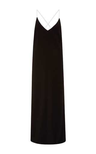 Medium adam selman black long wrap slip dress