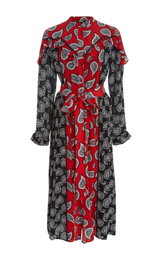 Medium dodo bar or print mick mixed paisley ruffled midi dress