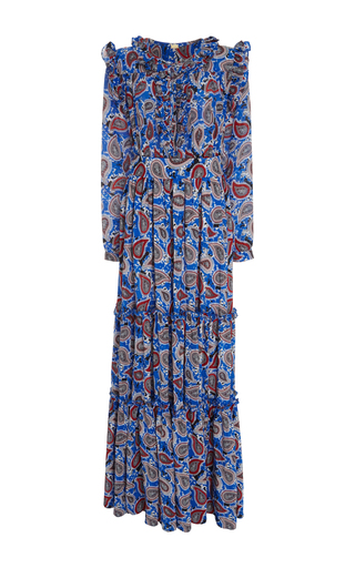 Medium dodo bar or print elvis ruffle long sleeve maxi dress
