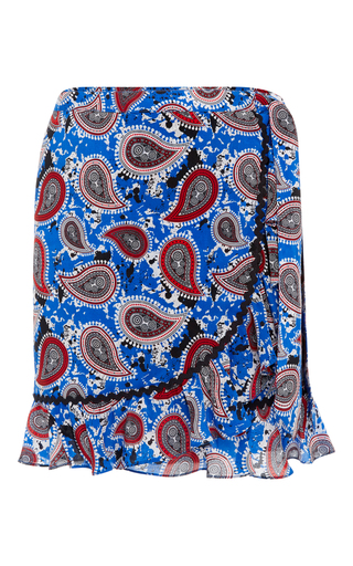 Medium dodo bar or print milo ruffled wrap mini skirt
