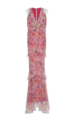 Medium saloni pink rita ruffled floral gown