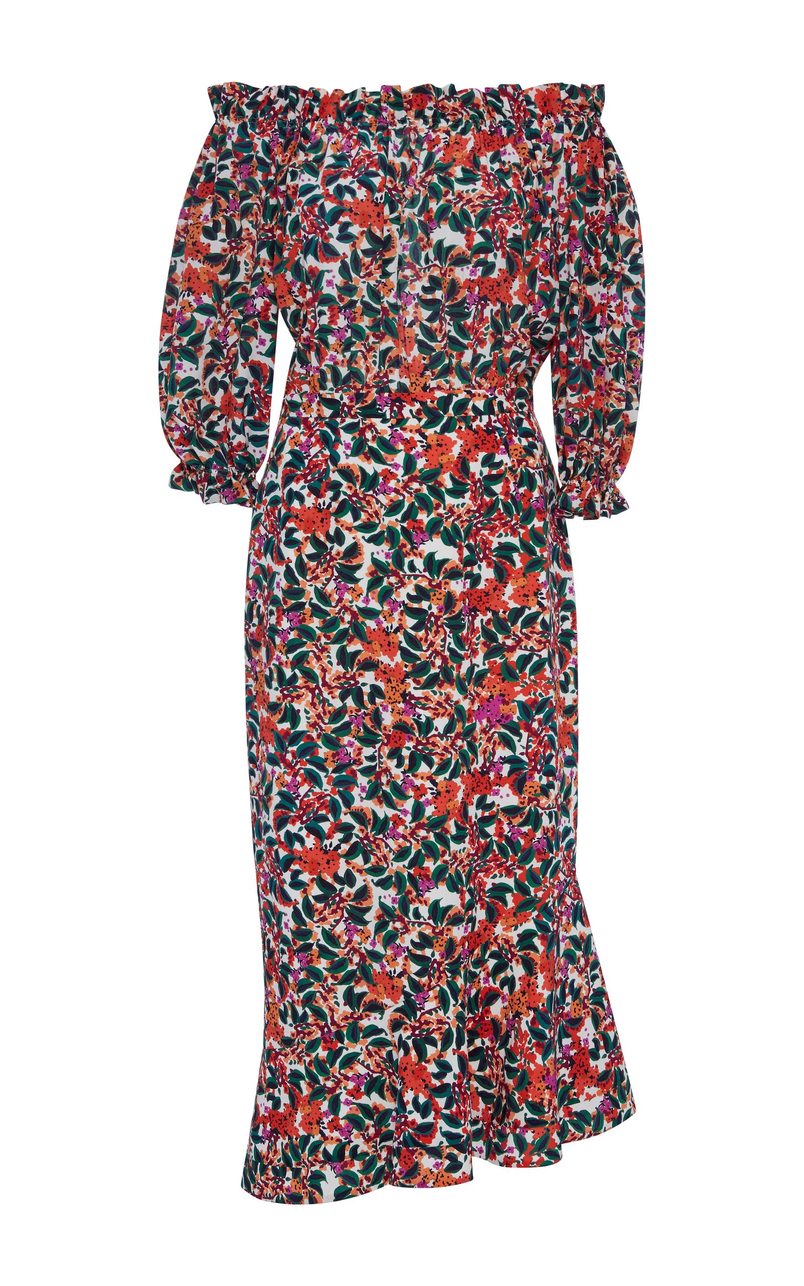 Saloni off-shoulder printed dress Wear Resistance MAtFf