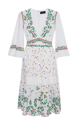 Medium saloni white june embroidered cotton dress