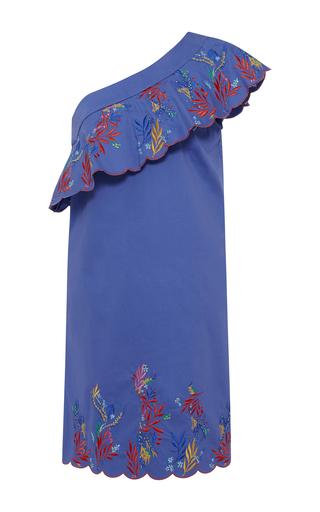 Medium saloni blue embroidered one shoulder dress