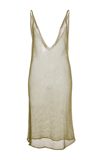 Medium haus alkire bronze metallic crochet deep v neck slip dress
