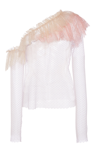 Medium philosophy di lorenzo serafini pink lace ruffle shoulder blouse