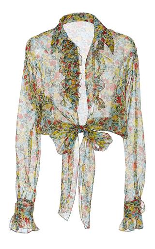 Medium by bonnie young print floral silk organza ruffle tie blouse