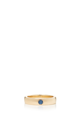 Medium alison lou blue blue sapphire solitaire band