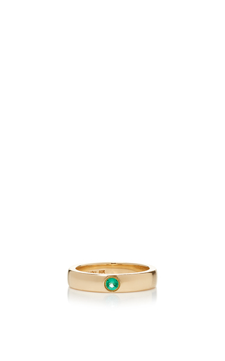Medium alison lou green emerald solitaire band