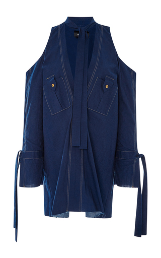 Medium kitx blue dual purpose cold shoulder shirt