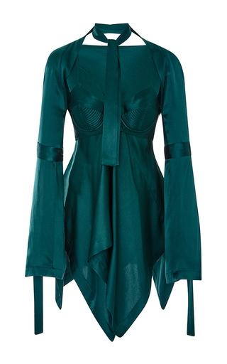 Medium kitx green geometry corset draped top