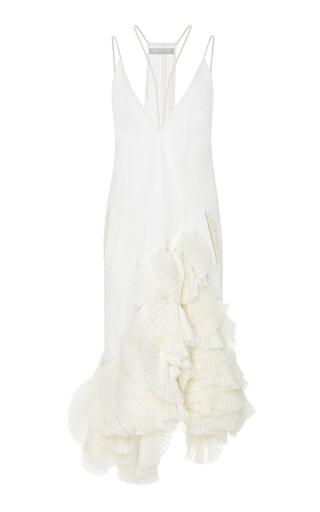 Medium jonathan simkhai white fan pleated v neck denim dress