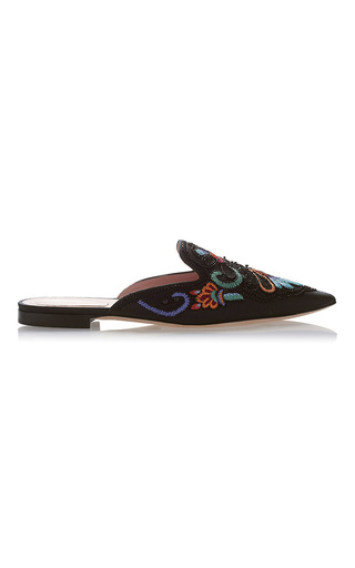 Medium alberta ferretti black flat mules with flower embroidery