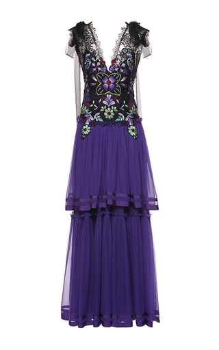 Medium alberta ferretti purple floral embroidered chiffon gown