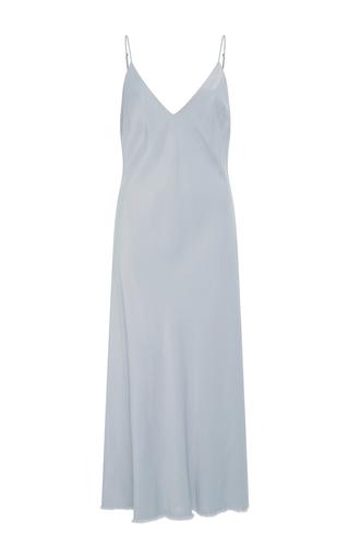 Medium frame denim blue satin slip dress