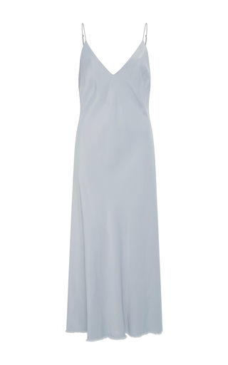Medium frame denim blue satin slip dress