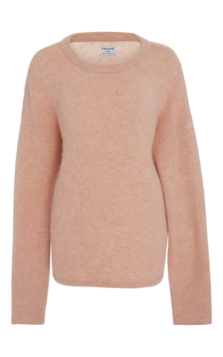 Medium frame denim pink boxy crewneck sweater