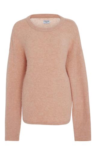 Medium frame denim pink boxy crewneck sweater