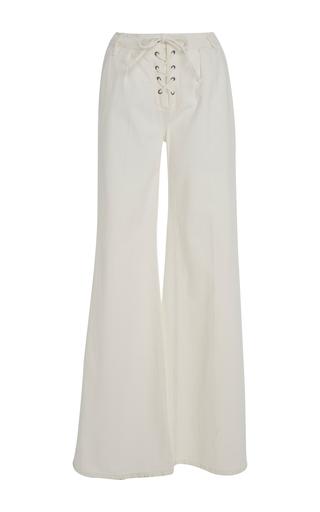 Medium frame denim white le capri lace up trouser
