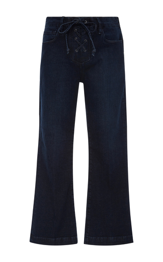 Medium frame denim dark wash le crop lace up jean