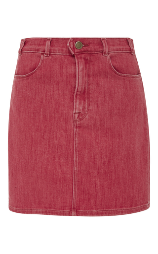 Medium frame denim red le color denim pencil skirt