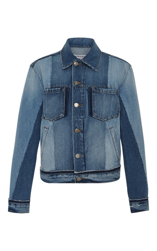 Medium frame denim light wash nouveau mixed denim jacket