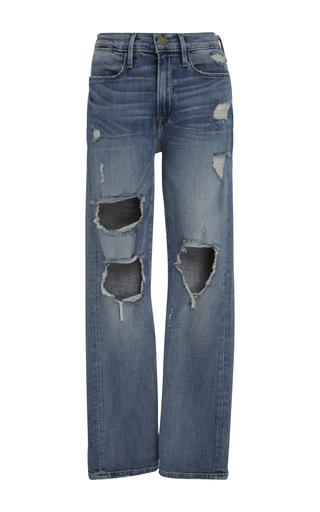 Medium frame denim light wash distressed denim jeans