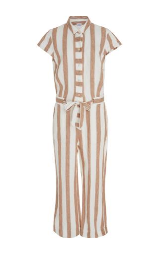 Medium frame denim stripe striped linen jumpsuit