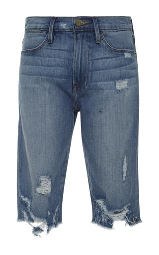 Medium frame denim light wash cropped mid rise jeans