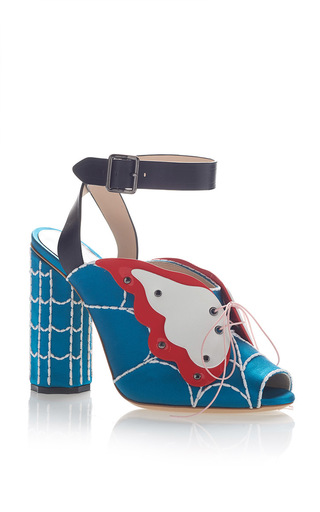 Medium marco de vincenzo light blue butterfly peep toe sandal