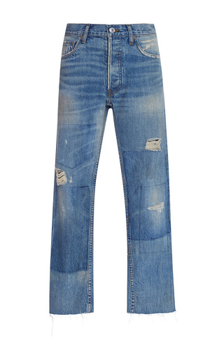 Medium re done dark wash relaxed crop jeans