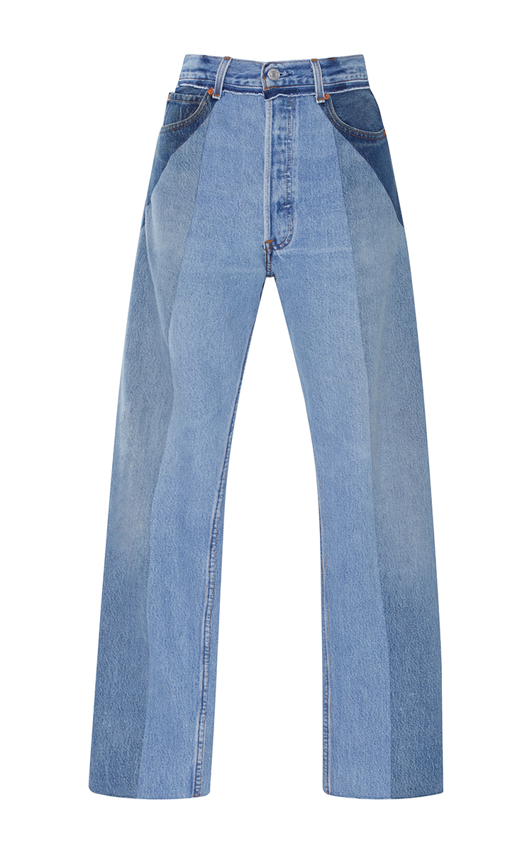 ULTRA HIGH-RISE STRAIGHT LEG PATCHWORK JEANS