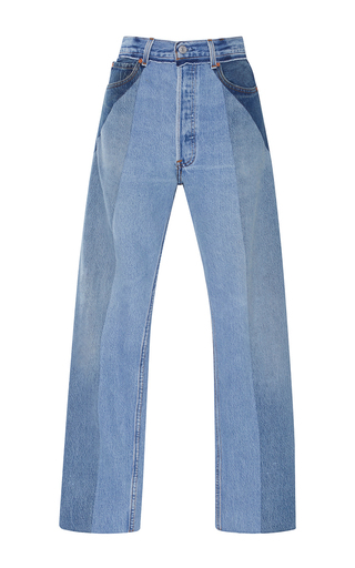 Medium re done light wash ultra high rise straight leg patchwork jeans
