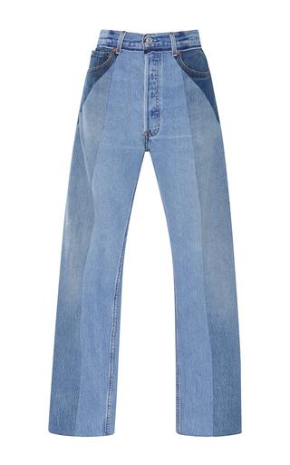 Medium re done light wash ultra high rise straight leg patchwork jeans
