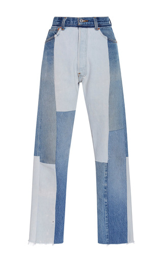 Medium re done light wash seamed high rise jeans