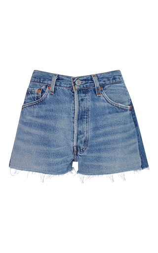 Medium re done light wash 2 tone denim shorts