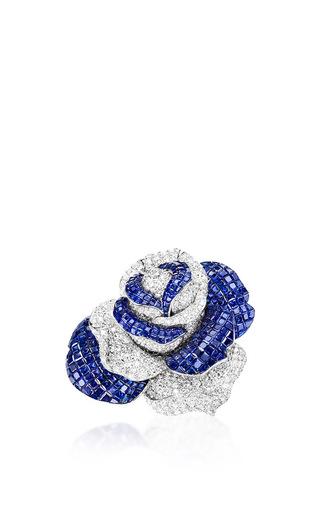 Medium sabbadini blue rose shaped brooch
