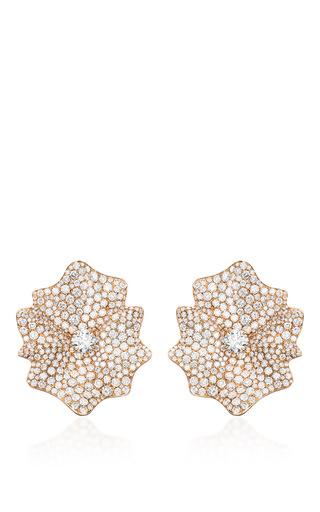 Medium sabbadini rose gold flower shaped diamond earrings