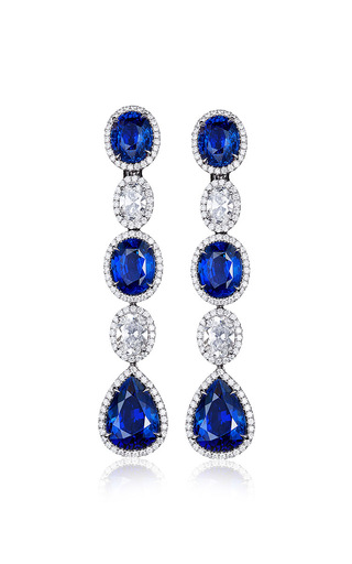Medium bayco blue sapphire and diamond earrings