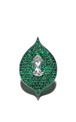 Medium bayco green diamond emerald foglia ring