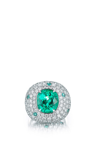 Medium paolo costagli green cushion shaped paraiba type tourmaline ring