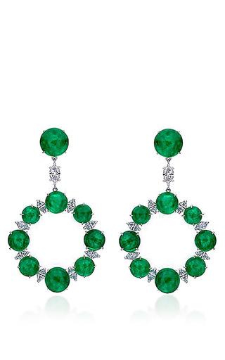 Medium nina runsdorf green emerald earrings